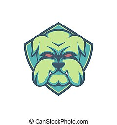 bulldog green shield esport mascot