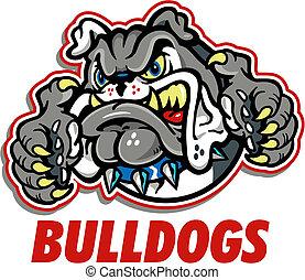 bulldog, gruñir, mascota