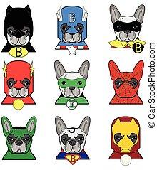 bulldog, héroes, francés, iconos
