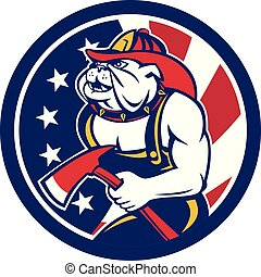 bulldog, hacha, usa-flag-icon, bombero, circ