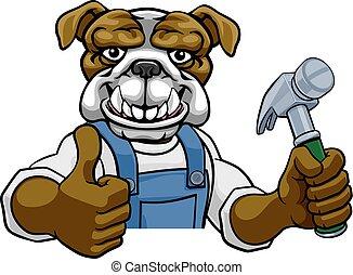 bulldog, handyman, aannemer, timmerman, hamer, vasthouden