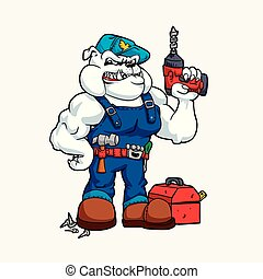 Bulldog Handyman with drill in hand and tools.