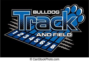 bulldog, hardloop wedstrijd, akker