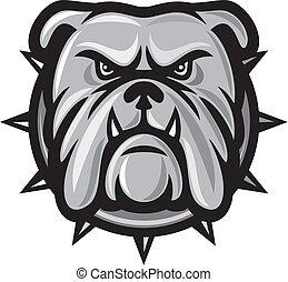 Bulldog head (angry bulldog, bulldog vector illustration)