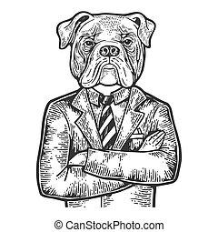 Bulldog head businessman engraving vector illustration....