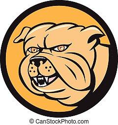 Bulldog Head Circle Cartoon