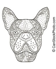 Bulldog head Coloring book vector for adults