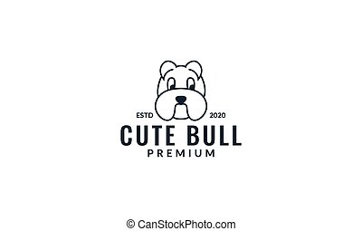 Bulldog head cute line modern logo design