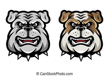 Bulldog Head Mascot in Cartoon Style