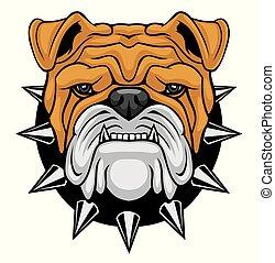 Bulldog head mascot.