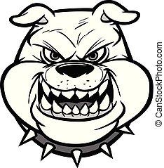Bulldog Head On View Illustration