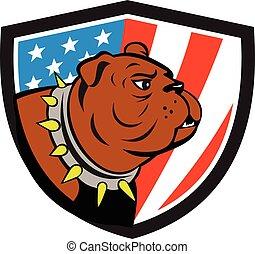 Bulldog Head USA Flag Crest Cartoon