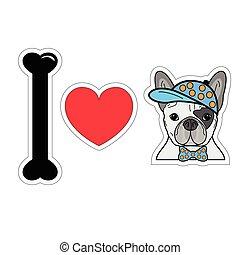 bulldog, hipster, 2, amor, francés