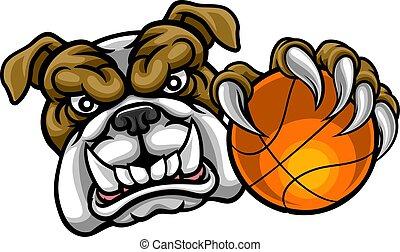 Bulldog Holding Basketball Ball Sports Mascot