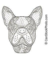 bulldog, hoofd, kleurend boek, vector, voor, volwassenen