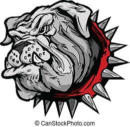 bulldog, illustr, vettore, cartone animato, faccia