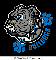 bulldog, impresiones, inglés, pata