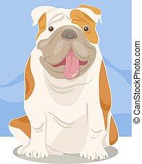 bulldog, inglese, cartone animato, cane