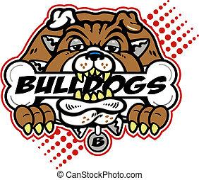 bulldog, inmenso, hueso