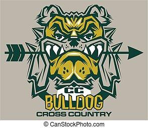 bulldog, land, kruis