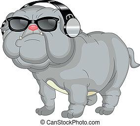 bulldog, lindo, caricatura, inglés