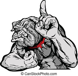 Bulldog Mascot Body Vector Cartoon - Cartoon Vector Mascot...