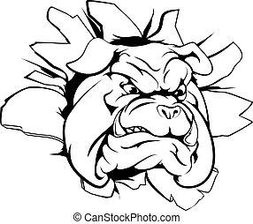 A mean looking bulldog mascot breaking through wall
