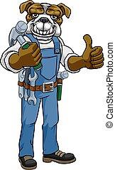 Bulldog Mascot Carpenter Handyman Holding Hammer