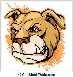 Bulldog Mascot Cartoon Head - Bulldog Mascot Cartoon Face -...