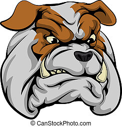 An illustration of a fierce bulldog animal character or sports mascot