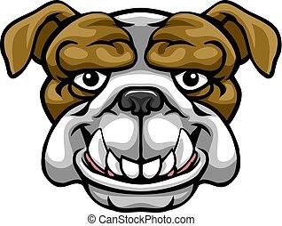 Bulldog Mascot Cute Happy Cartoon Character