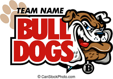 bulldog mascot design with smirking bulldog face