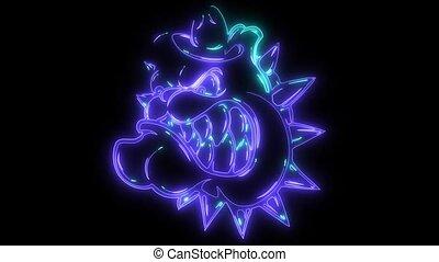 Bulldog Mascot Head video laser animation - Bulldog Mascot...