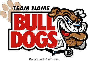 bulldog mascot design with smirking bulldog face
