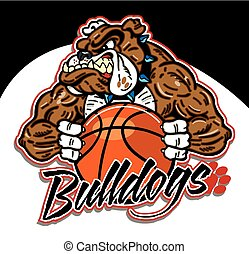 bulldog mascot with basketball