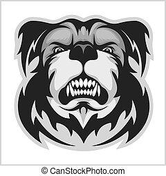 bulldog, mascotte, cartone animato, faccia