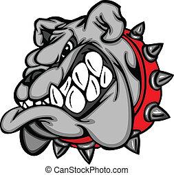 bulldog, mascotte, spotprent, gezicht