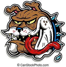 bulldog, matto, lingua, lungo