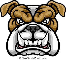 Bulldog Mean Sports Mascot - A mean bulldog dog angry animal...