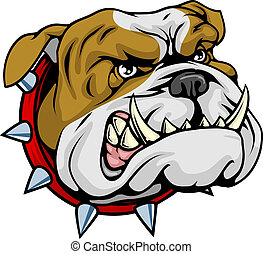 bulldog, media, illustrazione, mascotte