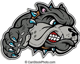 bulldog, media, zampa, faccia