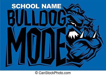 bulldog mode team design with mean mascot head for school,...