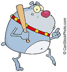 bulldog, mover furtivamente, dedos del pie, punta, alrededor