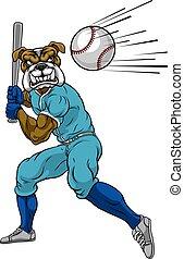 bulldog, murciélago, balanceo, jugador béisbol, mascota