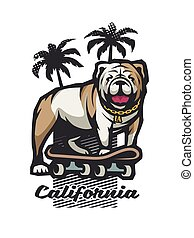 Bulldog on a skateboard on the background of silhouettes of palm trees. Vector illustration.