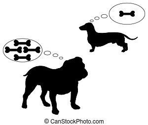 bulldog, ossa, sogno, dachshund, inglese