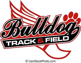 bulldog, pista, campo