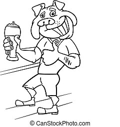 bulldog, pohár, sör, ember