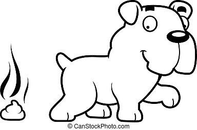 bulldog, poop, cartone animato