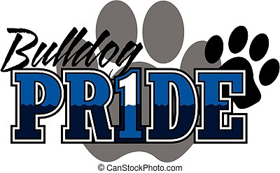 bulldog pride design with large paw print in background